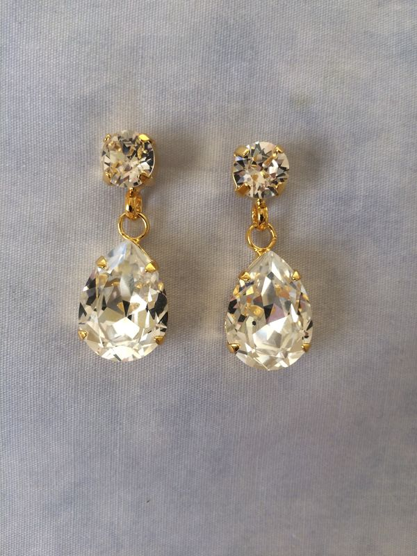 Swarovski Crystal Gold Tear Drop Earrings - product images  of