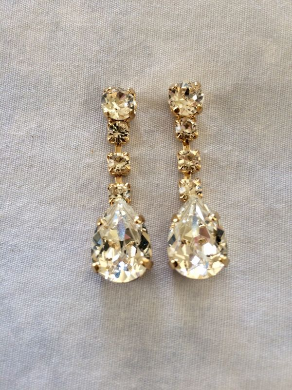 Swarovski Crystal Gold Dangle Tear Drop Earrings - product images  of