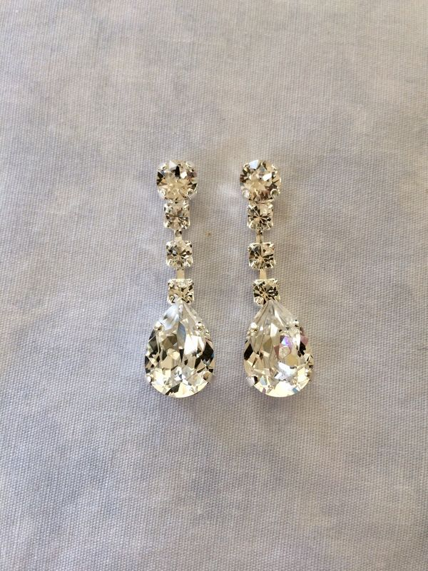 Swarovski Crystal Silver Dangle Tear Drop Earrings - product images  of