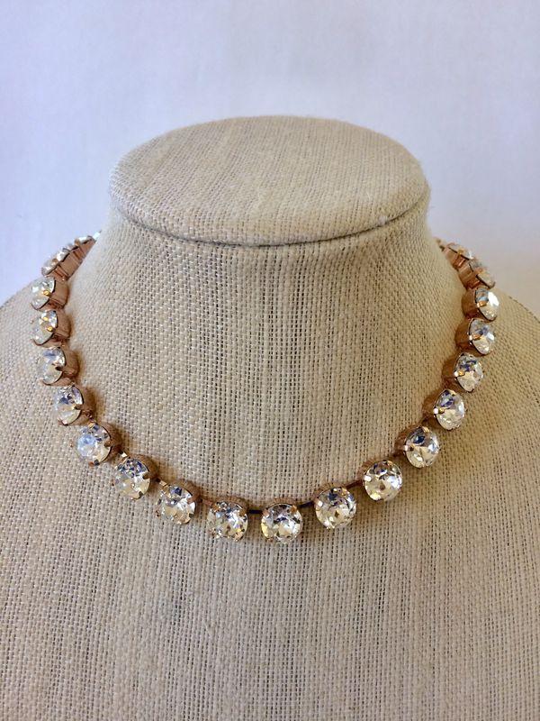 Rose Gold Swarovski Crystal Bridal Choker Necklace Product Images Of