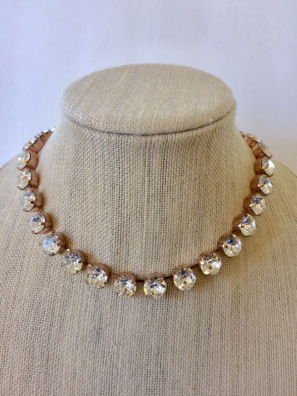 Rose Gold Swarovski Crystal Bridal Choker Necklace - product images  of