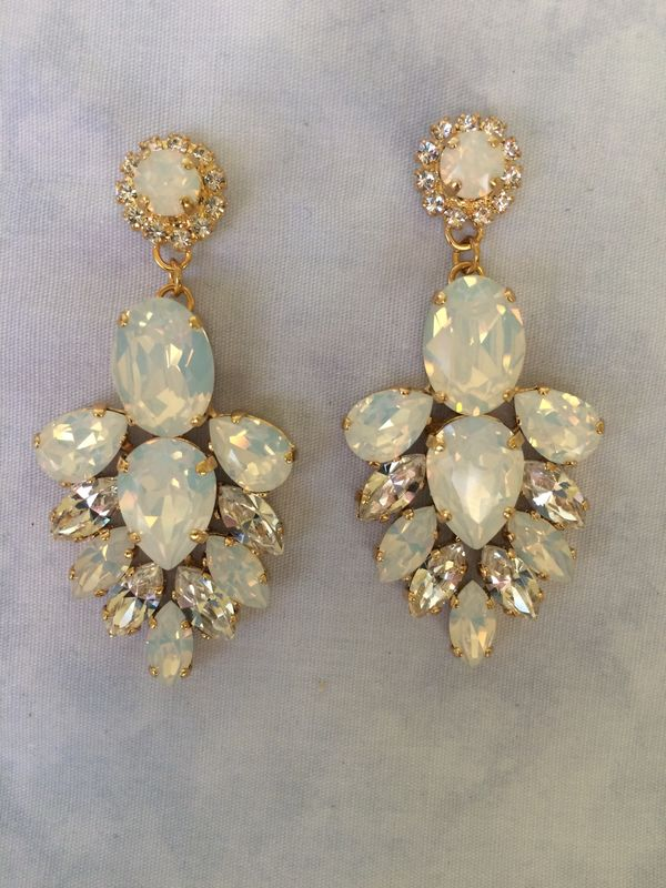 White Opal Crystal Bridal Statement Earrings - product images  of