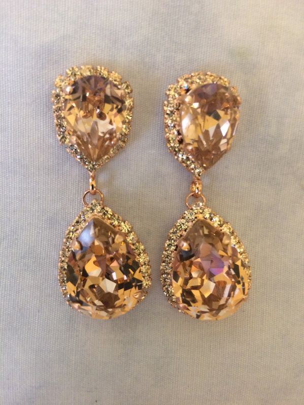 Rose Gold Blush Swarovski Crystal Embellished  Double Teardrop Bridal Earrings  - product images  of