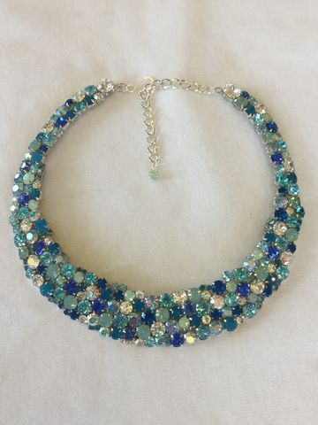 Tropical,Blue,Opal,Swarovski,Crystal,Statement,Necklace,statement_necklace, bib_necklace, rhinestone_necklace, bridal_necklace, Blue_green_necklace, Wedding_necklace, teal_necklace, Opal_bridal_necklace, Blue_necklace, Collar necklace, aqua necklace,