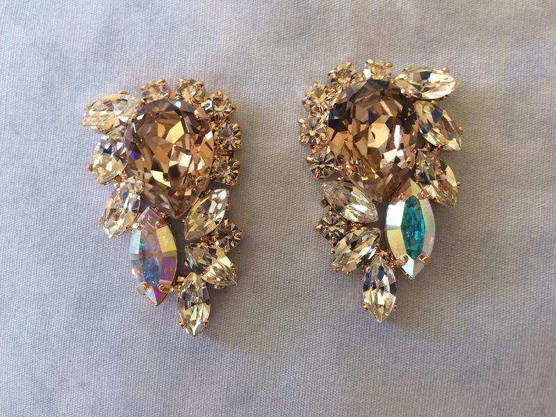 Swarovski Crystal Morganite Cluster Statement Earrings - product images  of