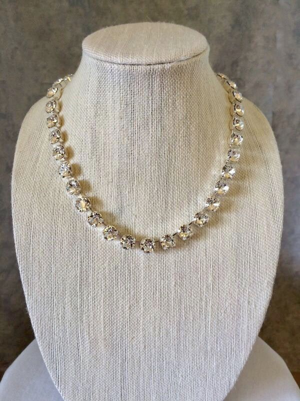 Diamond Cut Crystal Bridal Necklace, 8mm, Choker or Princess Length - product images  of