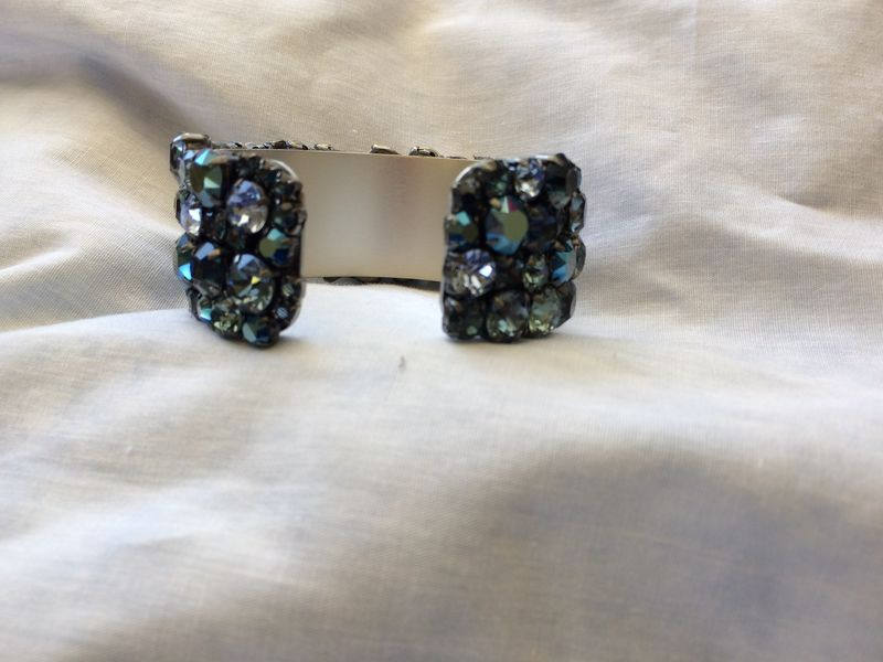 Navy Blue Swarovski Crystal Cuff Bracelet - Gunmetal settings - product images  of