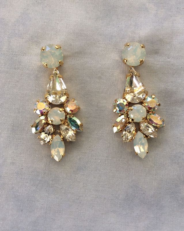 Swarovski White Opal Crystal Dangle Bridal Statement Earrings - product images  of