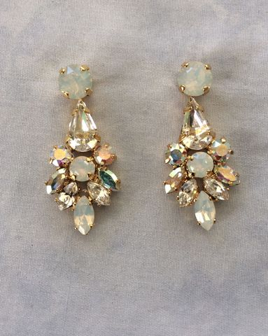 Swarovski White Opal Crystal Dangle Bridal Statement Earrings