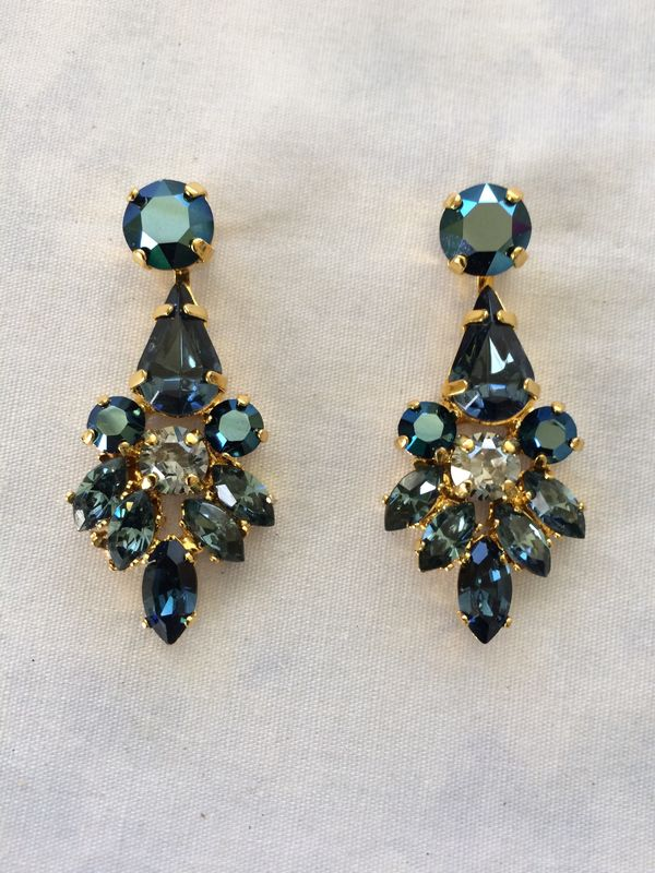 Swarovski Navy Blue Crystal Dangle Bridal Statement Earrings - product images  of