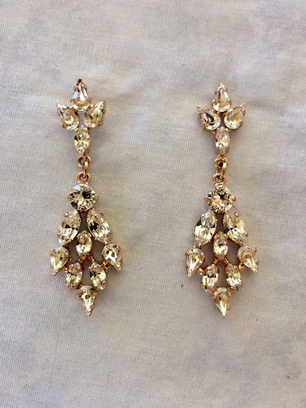 Rose Gold Crystal Chandelier Bridal Statement Earrings - product images  of