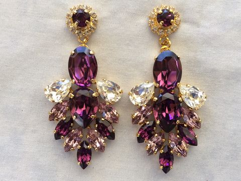 Amethyst Swarovski Crystal Statement Dangle Earrings