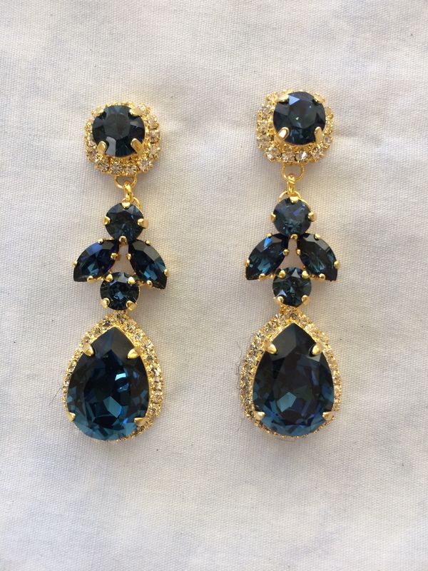 Navy Blue Swarovski Crystal Embellished Teardrop Dangle Earrings - product images  of