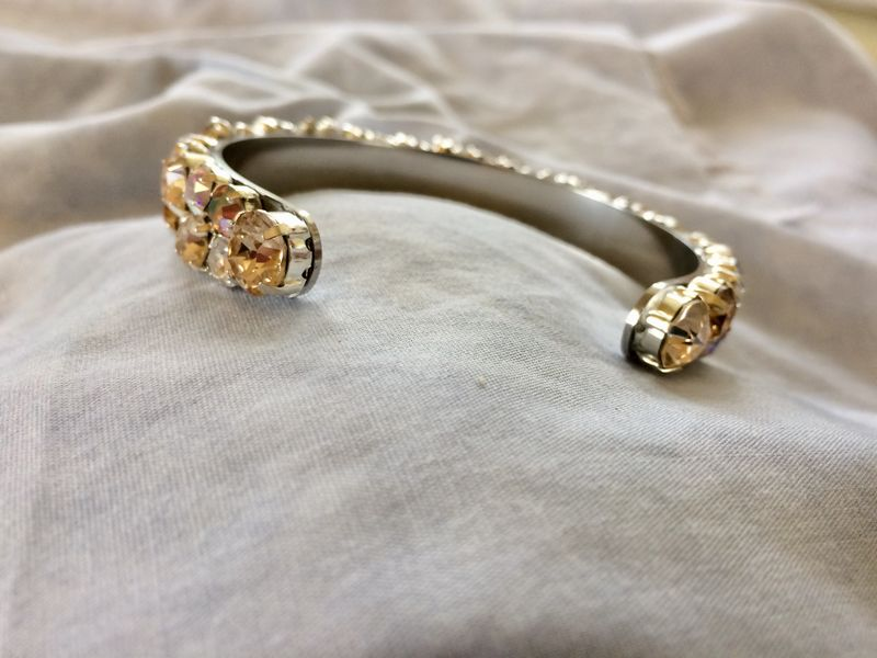 Topaz Gold Swarovski Crystal Thin Cuff Bracelet  - product images  of