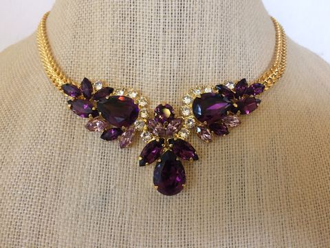 Swarovski,Amethyst,Pendant,Necklace,statement necklace, crystal necklace, swarovski crystal necklace, bridal necklace, bib necklace,  necklace, rose gold necklace, pendant necklace, amethyst