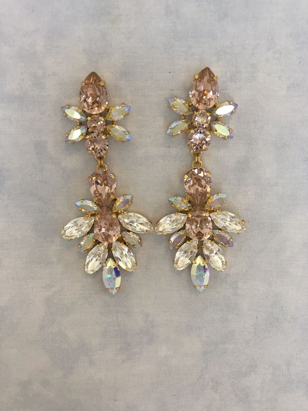 Light Blush Swarovski Crystal Statement Earrings - product images  of