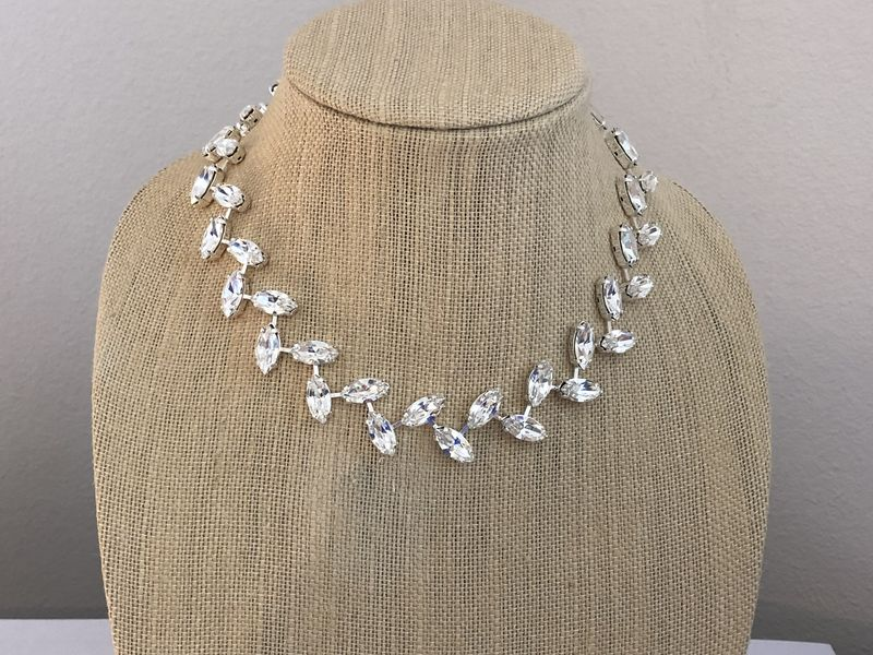 Crystal Wreath Necklace Wedding Necklace - product images  of