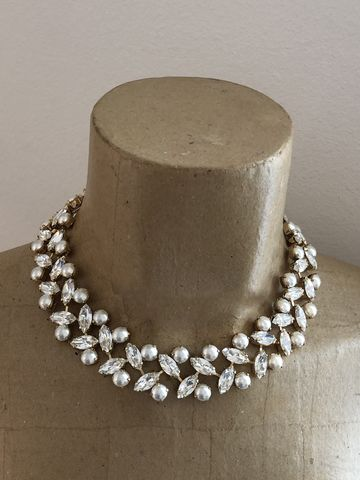 Swarovski,Crystal,and,Pearl,Wreath,Necklace,statement_necklace, rhinestone_necklace, bridal_necklace, Wedding_necklace, Wedding_jewelry, Chunky_necklace, Bridal_jewelry, Crystal_necklace, Swarovski necklace, choker,  Mother of the bride jewelry, wreath necklace, pearl necklace