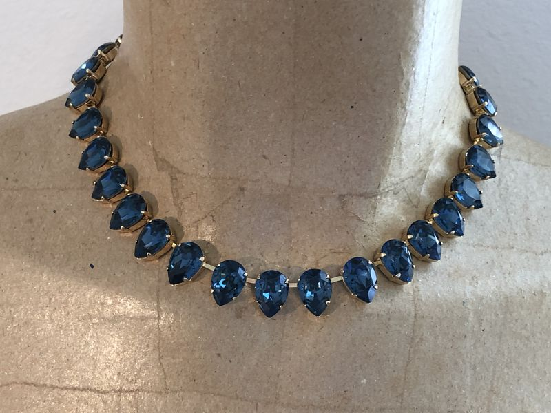 Navy Blue Swarovski Crystal Teardrop Necklace - product images  of