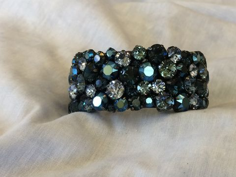 Navy,Blue,Swarovski,Crystal,Cuff,Bracelet,-,Gunmetal,settings,Wedding jewelry, Swarovski bracelet, Blue wedding cuff, Mother of the bride jewelry, Bracelet, rhinestone_cuff, Crystal_cuff, wedding_cuff, wedding_bracelet, navy blue bracelet, something blue