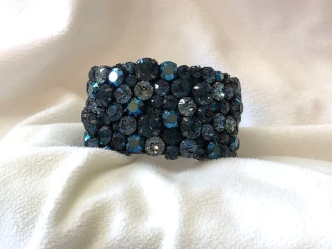 Navy,Blue,Swarovski,Crystal,Cuff,Bracelet,-,1.5,inches,Gunmetal,settings,Wedding jewelry, Swarovski bracelet, Blue wedding cuff, Mother of the bride jewelry, Bracelet, rhinestone_cuff, Crystal_cuff, wedding_cuff, wedding_bracelet, navy blue bracelet, something blue