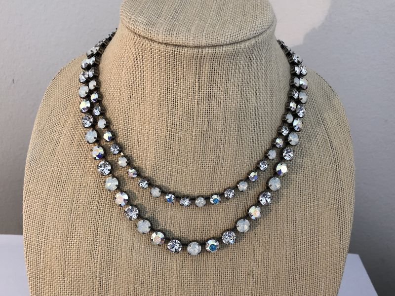 Swarovski Crystal White Opal Layered Necklace - product images  of