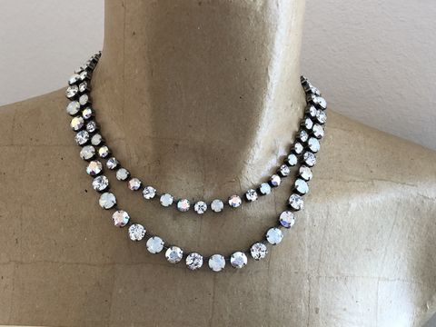 Swarovski,Crystal,White,Opal,Layered,Necklace,Layered_necklace, White_opal, bridal_necklace, Wedding_necklace, crystal_necklace, rhinestone_choker, swarovski_necklace, wedding_jewelry, Diamond_necklace, Rhinestone_clear_crystal, swarovski crystal necklace, two strand necklace, double strand necklace