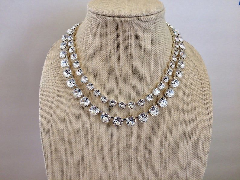 Layered Swarovski Crystal Statement Necklace - product images  of