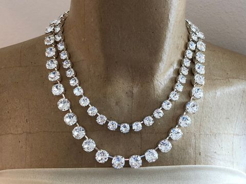Layered,Swarovski,Crystal,Statement,Necklace,Layered_necklace, statement_necklace, rhinestone_necklace, bridal_necklace, Wedding_necklace, Wedding_jewelry, Chunky_necklace, Bridal_jewelry, Crystal_necklace, 3 _strand_necklace, Swarovski necklace, choker,  Mother of the bride jewelry