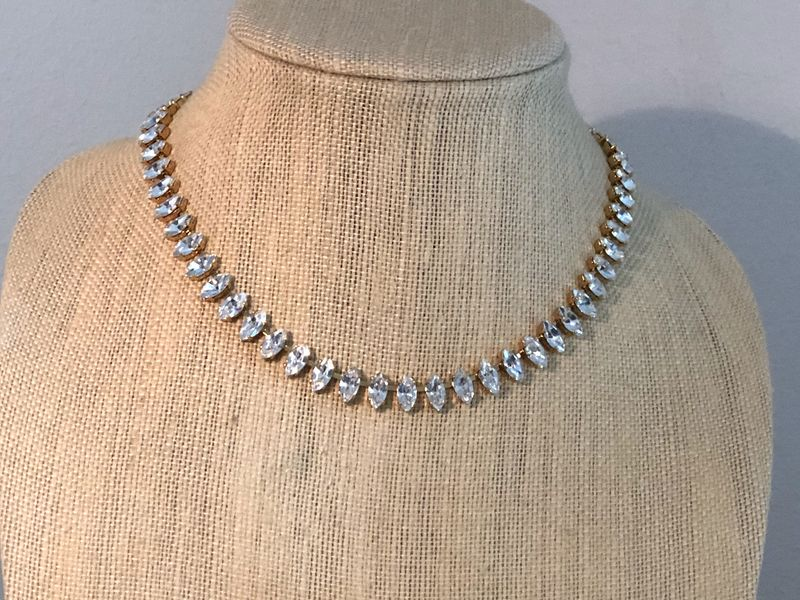 Clear Swarovski Crystal Marquis Choker Necklace,  silver, rose gold, or gold - product images  of