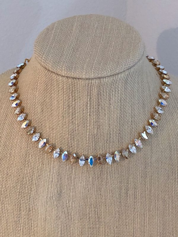 Champagne Swarovski Crystal Marquis Choker Necklace,  silver, rose gold, or gold - product images  of