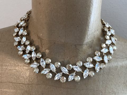 Champagne,Swarovski,Crystal,Wreath,Statement,Necklace,statement_necklace, rhinestone_necklace, bridal_necklace, Wedding_necklace, Wedding_jewelry, Chunky_necklace, Bridal_jewelry, Crystal_necklace, Swarovski necklace, choker,  Mother of the bride jewelry, wreath necklace, champagne necklace