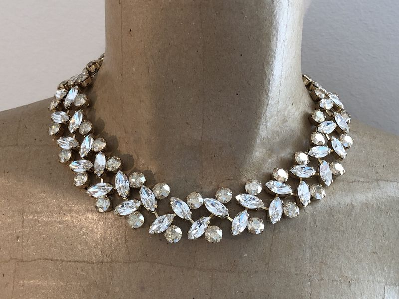 Champagne Swarovski Crystal Wreath Statement Necklace - product images  of