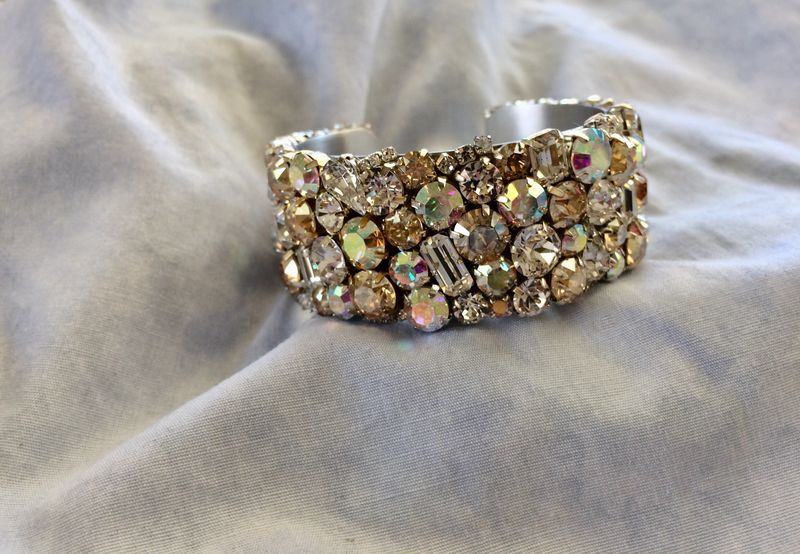 Champagne Swarovski Crystal Bridal Bracelet - 1 inch wide cuff - product images  of