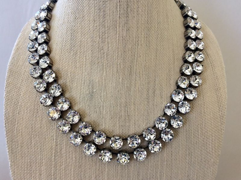 Double Strand Swarovski Crystal Statement Necklace - antique silver settings - product images  of