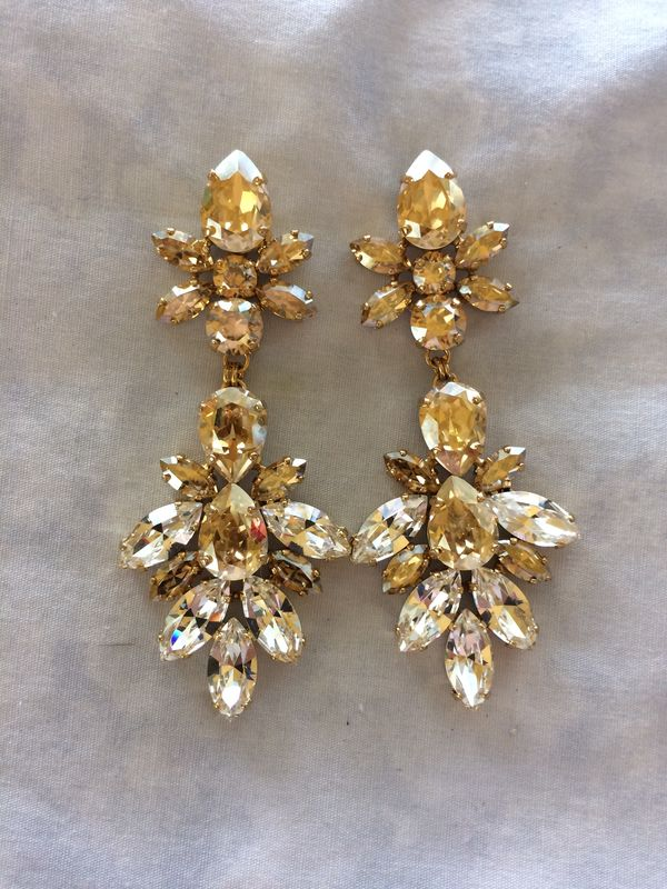 Golden Champagne Crystal Statement Earrings - product images  of