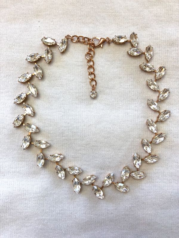 Rose Gold Crystal Wreath Necklace Wedding Necklace - product images  of