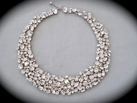 Swarovski,Clear,Crystal,Wedding,Statement,Necklace,statement necklace, crystal necklace, swarovski crystal necklace, bridal necklace, bib necklace, wedding necklace, Collar necklace,