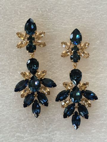 Navy,Blue,Gold,Swarovski,Crystal,Bridal,Statement,Earrings,Statement earrings, navy blue earrings, bridal earrings, dangle earrings, crystal earrings, bridesmaid earrings, swarovski earrings, wedding earrings, mother of the bride, dark blue earrings