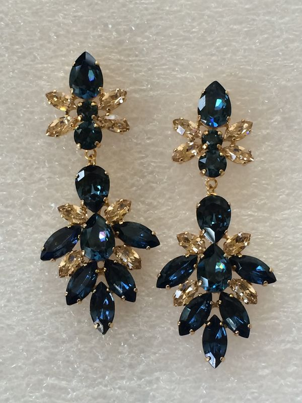 Navy Blue Gold Swarovski Crystal Bridal Statement Earrings - product images  of