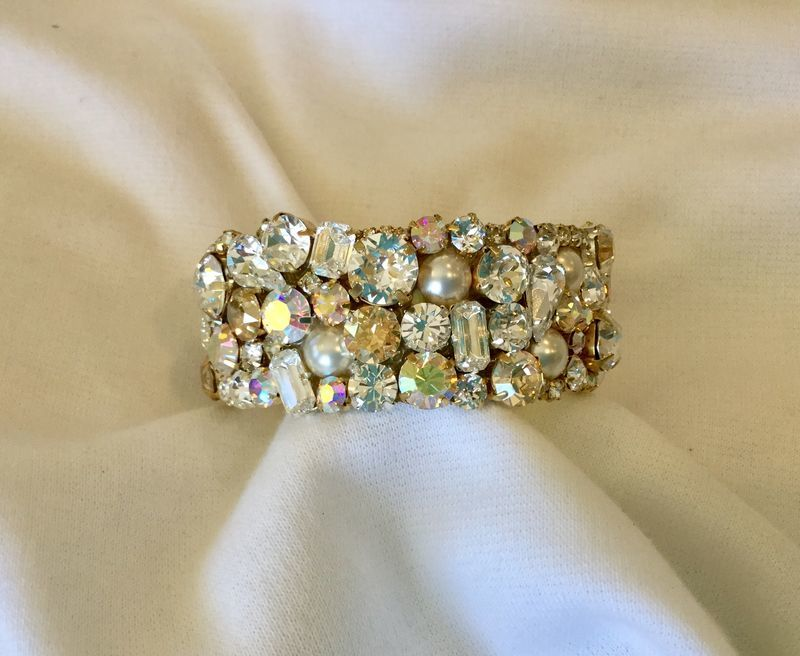 Champagne Swarovski Crystal and Pearl Bridal Cuff Bracelet - 1 inch wide - product images  of