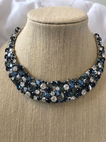 Navy,Blue,and,Silver,Crystal,Statement,Necklace,Weddings necklace, Statement necklace, Collar necklace, Navy blue necklace, Jewelry,Bib,statement_necklace,bib_necklace,rhinestone_necklace,crystal_necklace,Blue_necklace,Bridal_necklace,Destination_wedding,wedding_necklace,blue_bib_necklace,blue