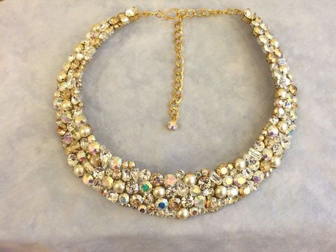 Swarovski,Champagne,Crystal,Pearl,Mosaic,Bridal,Collar,Statement,Necklace,Collar ncklace, Champagne collar necklace, Gold statement necklace, Champagne statement necklace, statement necklace, crystal necklace, swarovski crystal necklace, bridal necklace, bib necklace, wedding necklace