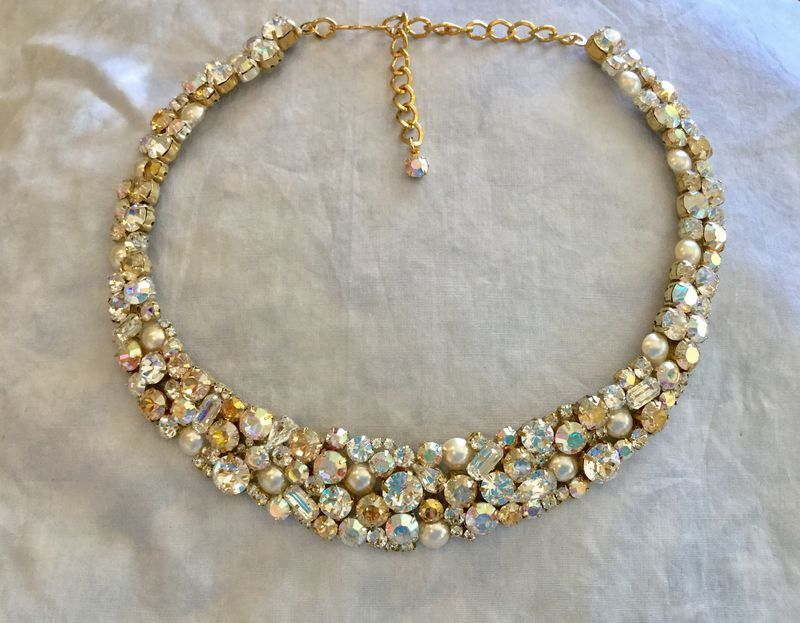Swarovski Champagne Crystal Pearl Mosaic Bridal Collar Statement Necklace - product images  of
