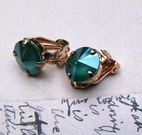 Green,Swarovski,Crystal,Clip,On,Earrings,in,Rose,Gold,Finish,swarovski crystal,silver plated brass,green clip ons,clip earrings,green crystal,clipon,jewelry,earrings,crystal clipons,nickel free earrings,nickel free clipons,rose gold clipons,rose gold,non pierced earrings,gift for her,12mm earrings