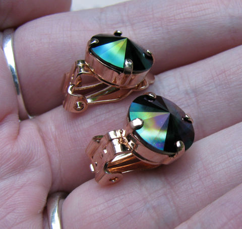 Dark,Rainbow,Swarovski,Crystal,Clip,On,Earrings,in,Rose,Gold,Finish,swarovski crystal,silver plated brass,oil slick,dark rainbow,clip ons,clip earrings,blue crystal,clipon,jewelry,earrings,crystal clipons,nickel free earrings,nickel free clipons,rose gold clipons,rose gold,non pierced earrings,gift for her,12mm earrings