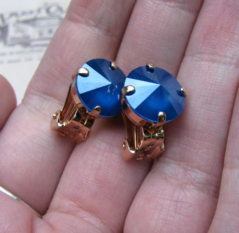 Blue,Swarovski,Crystal,Clip,On,Earrings,in,Rose,Gold,Finish,swarovski crystal,silver plated brass,blue clip ons,clip earrings,blue crystal,clipon,jewelry,earrings,crystal clipons,nickel free earrings,nickel free clipons,rose gold clipons,rose gold,non pierced earrings,gift for her,12mm earrings