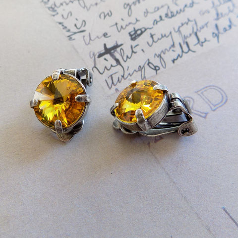 Golden,Yellow,Clip,On,Earrings,for,Non-Pierced,Ears,yellow clipons, clip on earrings, non pierced earrings, yellow clip earrings, crystal clipons, crystal