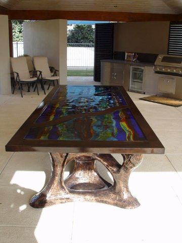 Art,Glass,Wrought,Iron,Table