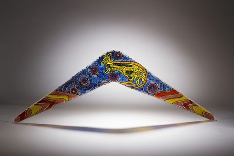 Aboriginal,Art,Glass,Boomerang,01, art glass, giftware, aboriginal art, Peter Farmer, Western Australian Art